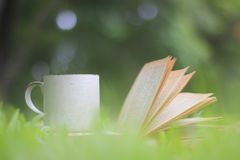 Coffee cup and books in the green grass in summer park Stock Images