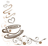 Coffee cup. Border with hearts and coffee beans stock illustration