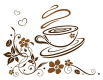 Coffee cup. Border with hearts and flowers Royalty Free Stock Image