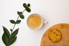 Coffee cup, branch and cookie on the chopping board royalty free stock photos