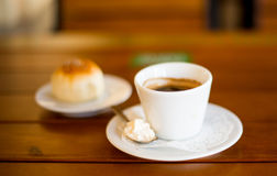 Coffee Cup and Bread Roll. Stock Photo