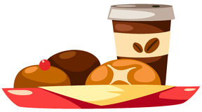 coffee cup and breads royalty free illustration