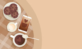 Coffee Cup Break Breakfast Drink Beverage Top View Stock Image