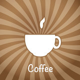 The coffee cup on a brown background. Stock Photos