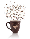 Coffee-cup with brown hand drawn happy smiley faces Stock Photo