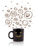 Coffee-cup with brown hand drawn happy smiley faces Royalty Free Stock Images
