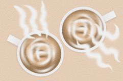 Coffee cup on brown illustration background. Art grunge coffee cup on brown illustration background Royalty Free Stock Images