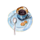 The coffee cup with brown shugar and spoon on white background, watercolor illustration. In hand-drawn style Royalty Free Illustration
