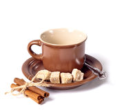 Coffee cup with brown sugar Royalty Free Stock Photos