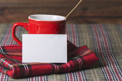 Coffee cup and business card, plaid blanket red Royalty Free Stock Photo