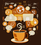 Coffee Cup and Business Icons with Bubble Speech Vector. Royalty Free Stock Photo