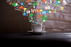 Coffee cup with business sketch Stock Photography