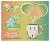 Coffee cup and butterfly vector Royalty Free Stock Photo