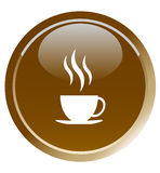 Coffee cup button Royalty Free Stock Photo