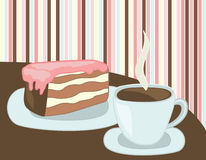 Coffee cup and cake Royalty Free Stock Images