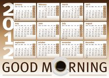 Coffee cup calendar 2012 Royalty Free Stock Photography