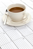 Coffee cup and Calendar Royalty Free Stock Photography
