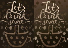 Coffee cup and calligraphy Royalty Free Stock Photography