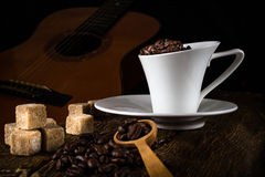 coffee cup and cane sugar Stock Photo