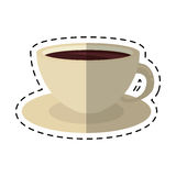 Coffee cup cappuccino plate-cut line Stock Photos