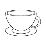 Coffee cup cappuccino plate thin line Stock Photo