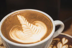 Coffee cup Cappuccino Rosetta Latte art Cafe menu Royalty Free Stock Images