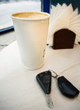 Coffee Cup and Car Keys Royalty Free Stock Photography