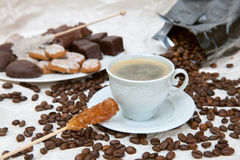 The coffee cup with caramel stick Stock Photo