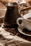 Coffee cup and cezve for turkish coffee Stock Photography