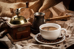 Coffee cup and cezve for turkish coffee Stock Photo