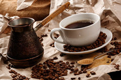Coffee cup and cezve for turkish coffee Stock Image