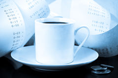 Coffee Cup, Change and Adding Tape Blues Royalty Free Stock Photos