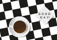 Coffee. A cup from coffee on a chessboard and a note with the phrase, good day Stock Image