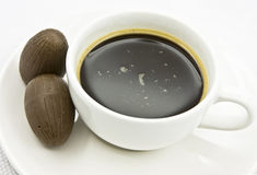 Coffee cup with chocolate. Close-up of coffee cup with chocolate royalty free stock photos