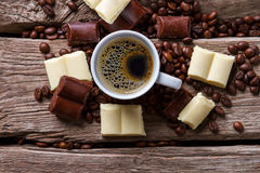 Coffee cup and chocolate. Royalty Free Stock Image