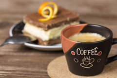 Coffee cup and chocolate cake Royalty Free Stock Image