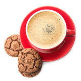 Coffee cup and chocolate cookie Royalty Free Stock Photo