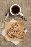 Coffee cup and chocolate cookies Royalty Free Stock Image