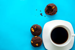 Coffee cup with chocolate cupcake. Stock Images