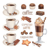 Coffee cup and chocolate sweets stock illustration