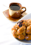 Coffee cup and christmas cake Royalty Free Stock Photography