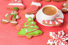 Coffee cup and christmas cookies Royalty Free Stock Image