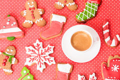 Coffee cup and christmas cookies Stock Photo