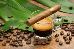 Coffee cup and cigar, stock photography