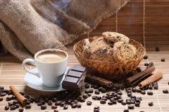 Coffee cup cinnamon coffee beans Stock Photography