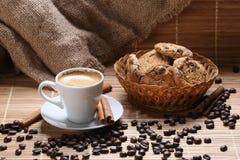 Coffee cup cinnamon coffee beans Royalty Free Stock Photo
