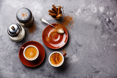 Coffee cup with cinnamon Stock Photos