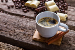 Coffee cup and cinnamon stick. Royalty Free Stock Image
