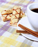 Coffee cup, cinnamon, sweets on the background. Coffee cup, cinnamon, sweets  on the tablecloth Stock Photography