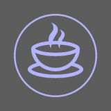 Coffee cup circular line icon. Cafe round colorful sign. Flat style vector symbol. Royalty Free Stock Photos